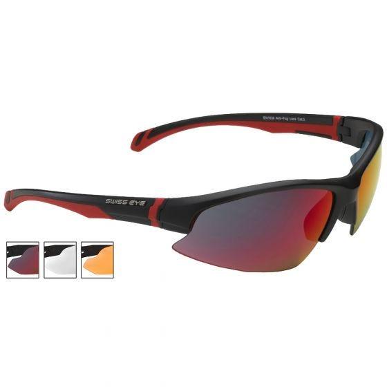 Okulary Taktyczne Swiss Eye Flash BR - Zestaw 3 Wymiennych Wizjerów - Czarne