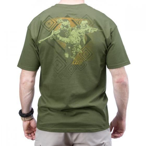 Koszulka T-shirt 5.11 Red Scope Logo OD Green