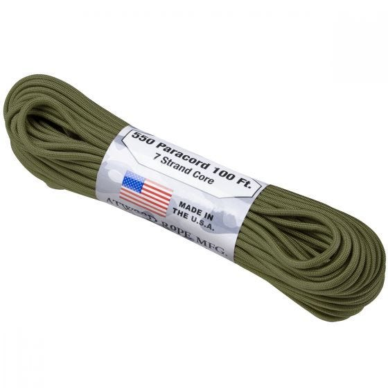 Linka Paracord Atwood Rope 550 Lbs. Olive Green