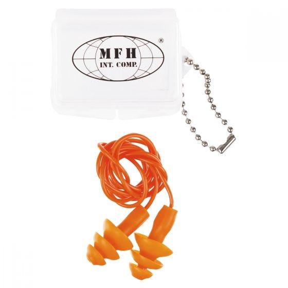 Ochronniki Słuchu Zatyczki MFH z Futerałem Pomarańczowe