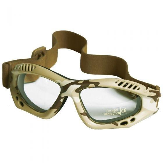 Gogle Ochronne Mil-Tec Commando Air Pro - Clear - Desert