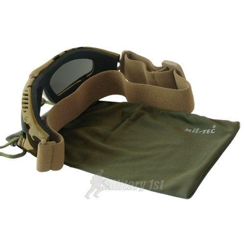 Gogle Ochronne Mil-Tec Commando Air Pro - Smoke - Desert
