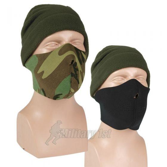 Maska Neoprenowa Mil-Tec Half Face Dwustronna Czarna/Woodland