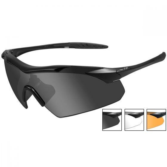 Okulary Taktyczne Wiley X WX Vapor - Zestaw 3 Wymiennych Wizjerów - Czarne