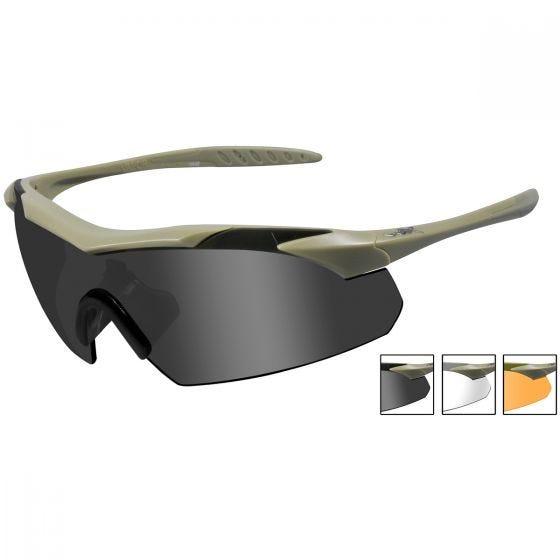 Okulary Taktyczne Wiley X WX Vapor - Zestaw 3 Wymiennych Wizjerów - Tan