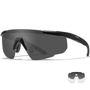 Okulary Taktyczne Wiley X Saber Advanced - Smoke Grey + Clear - Czarne