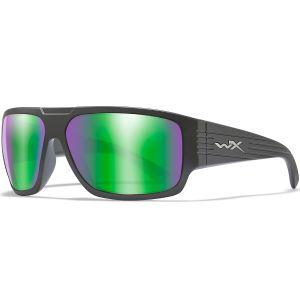 Okulary Taktyczne Wiley X WX Vallus - Polarized Emerald Mirror - Czarne