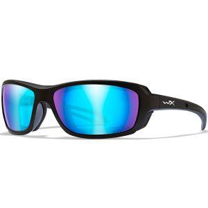 Okulary Taktyczne Wiley X WX Wave - Captivate Polarized Blue Mirror - Czarne