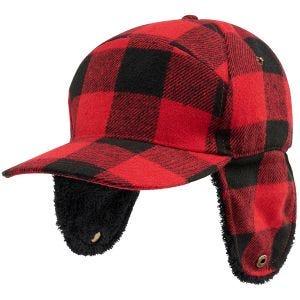 Czapka Zimowa Brandit Lumberjack Czerwono-czarna w kratę