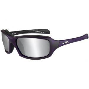 Okulary Taktyczne Wiley X WX Sleek - Smoke Grey Silver Flash - Fioletowe