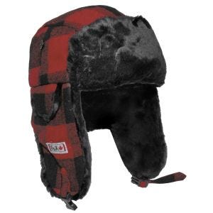 Czapka Uszatka Fox Outdoor Zimowa ze sztucznym futrem Czerwono-Czarna