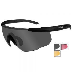 Okulary Taktyczne Wiley X Saber Advanced Vermillion - Zestaw 3 Wymiennych Wizjerów - Czarne
