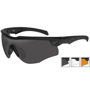 Okulary Taktyczne Wiley X WX Rogue Comm - Zestaw 3 Wymiennych Wizjerów - Czarne