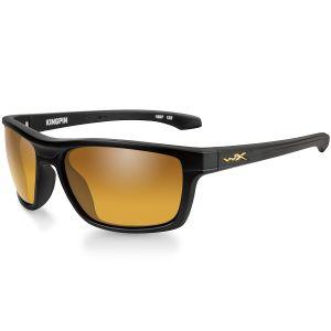 Okulary Taktyczne Wiley X WX Kingpin - Polarized Venice Gold Mirror - Czarne