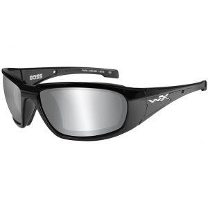 Okulary Taktyczne Wiley X WX Boss - Smoke Grey Silver Flash - Czarne