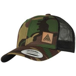 Czapka Bejsbolówka Direct Action Retro Trucker Woodland-Czarna